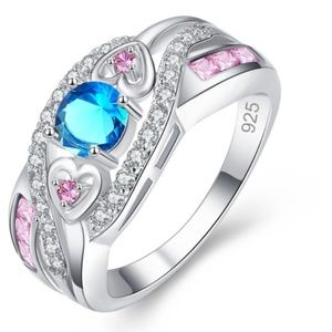 Jewelry - Exquisite Double Heart Blue & Pink Ring